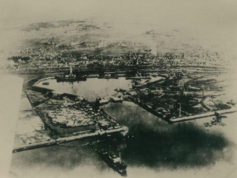 完成した三池港(大正初期航空写真)