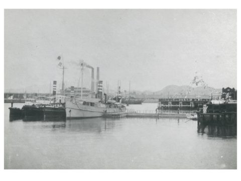 三池開港式当日港内の桟橋側より 三井家所属船、碇泊の景